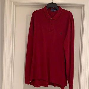 Dark red long sleeve Ralph Lauren polo